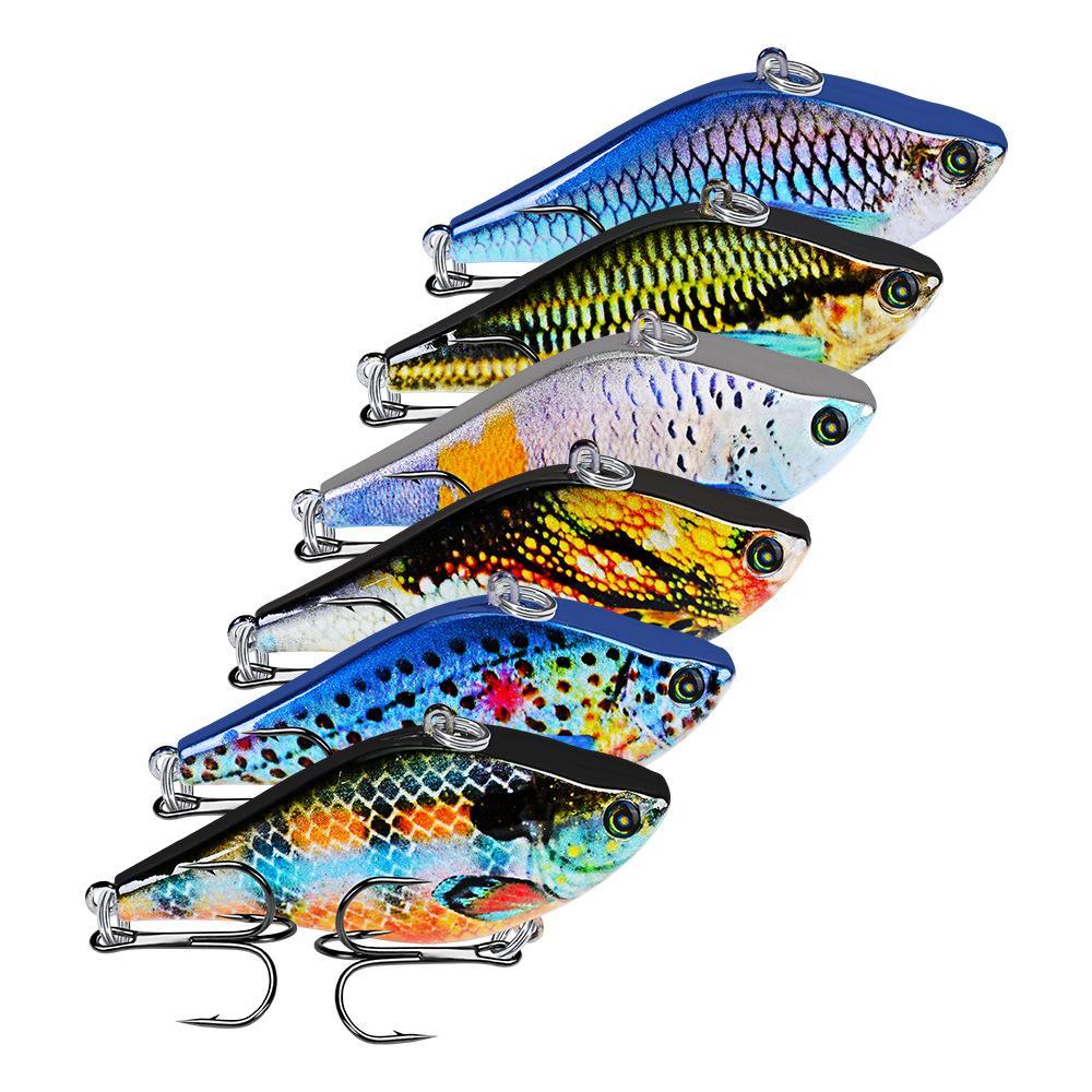 "6PC / Lote Lápiz señuelos de pesca VIB cebo 14g-Equipos de pesca 0,49 oz 6 # Ganchos 3D Eyes Bass Cebos 6,35 cm 2,5"" -Set 6 colores VIB"