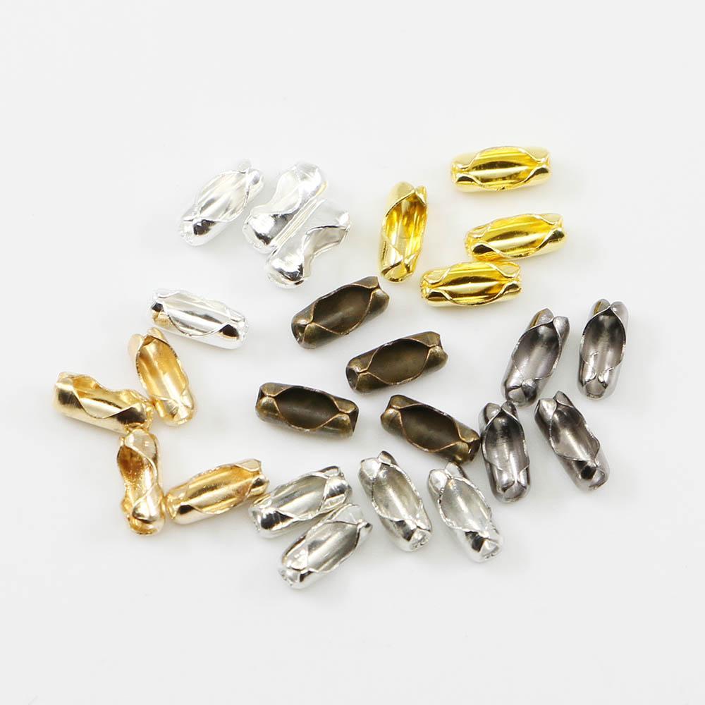 200pcs / lot Diamètre 1.5 / 2 / 2.4 / 3.2 mm Connecteurs à chaîne à boule Fermoirs Connecteurs couleur or / argent pour les bijoux de bricolage Making Making