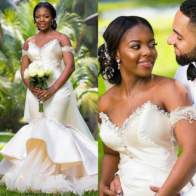 Luxo Nigeriano Africano Sereia Vestidos de Noiva Sweetheart Beads Comprimento do Assoalho Plus Size Vestido de Noiva Vestido Nupcial Vestido de Novia