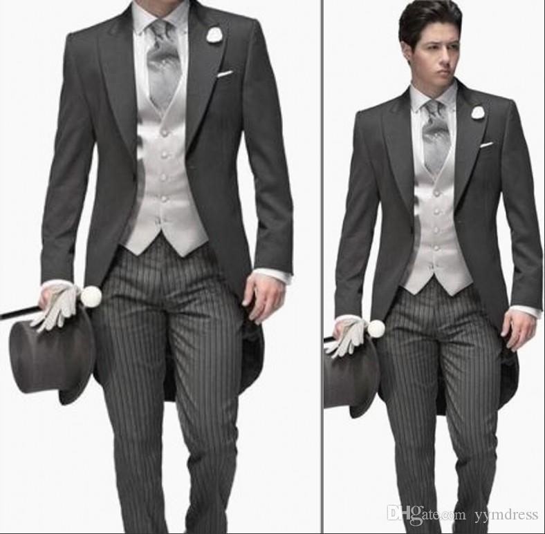 many choices of great discount for latest design Dark Grey Groom Tuxedos 2019 Peak Lapel Custom Made Men'S Suit Morning  Style Groomsman Wedding Suits Prom Suits Jacket+Pants+Tie+Vest Formal Suit  For ...