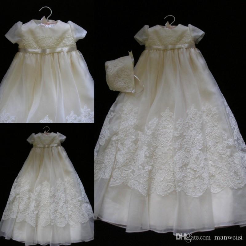 2019 Nouvel Ivoire Robes De Baptême Pour Bébés Filles Jewel Neck Dentelle Appliqued Baptême Robes Fleur Filles Dress Pour Les Mariages Avec Bonnet