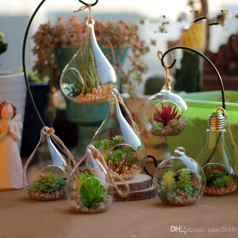 Saksı Konteyner cam Vazo Pot Teraryum Dekorasyon Asma Yeni varış Su Tear Drop Cam ücretsiz nakliye besler