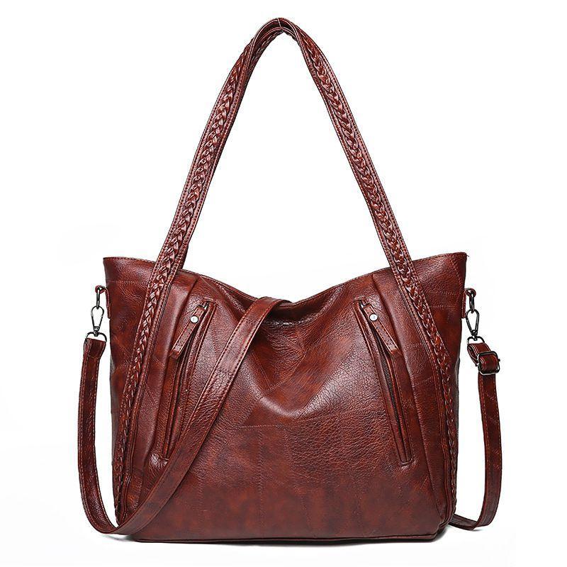 Frauen mit großer Kapazität Umhängetasche, Jahrgang weiche Lederhandtasche, lässig Straddle, gewebt Einkaufstasche, Farbe