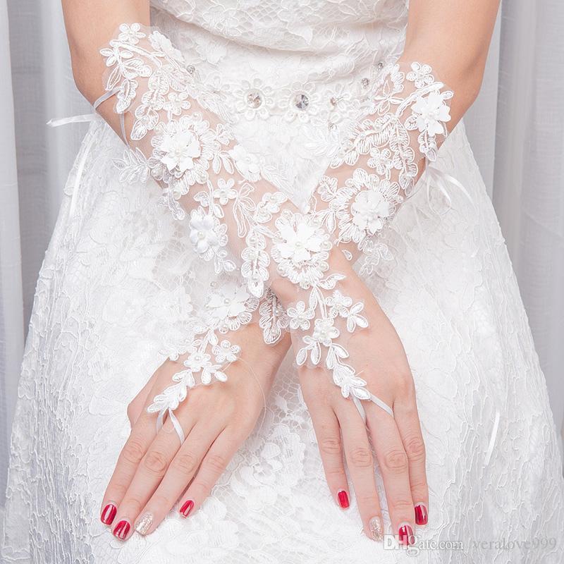 2019 حار رخيصة الأبيض أصابع زين الرباط طويل الزفاف قفازات الزفاف اكسسوارات الزفاف فوق طول الكوع