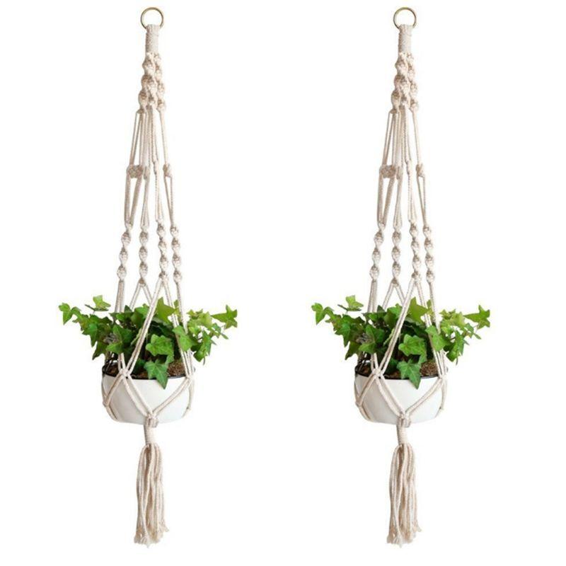 Pflanzenaufhänger Makramee Seil Topfhalter Indoor Blumentopf Korb Hebeseil Wandbehang Pflanzer Hängekorb Pflanzenhalter YW3777