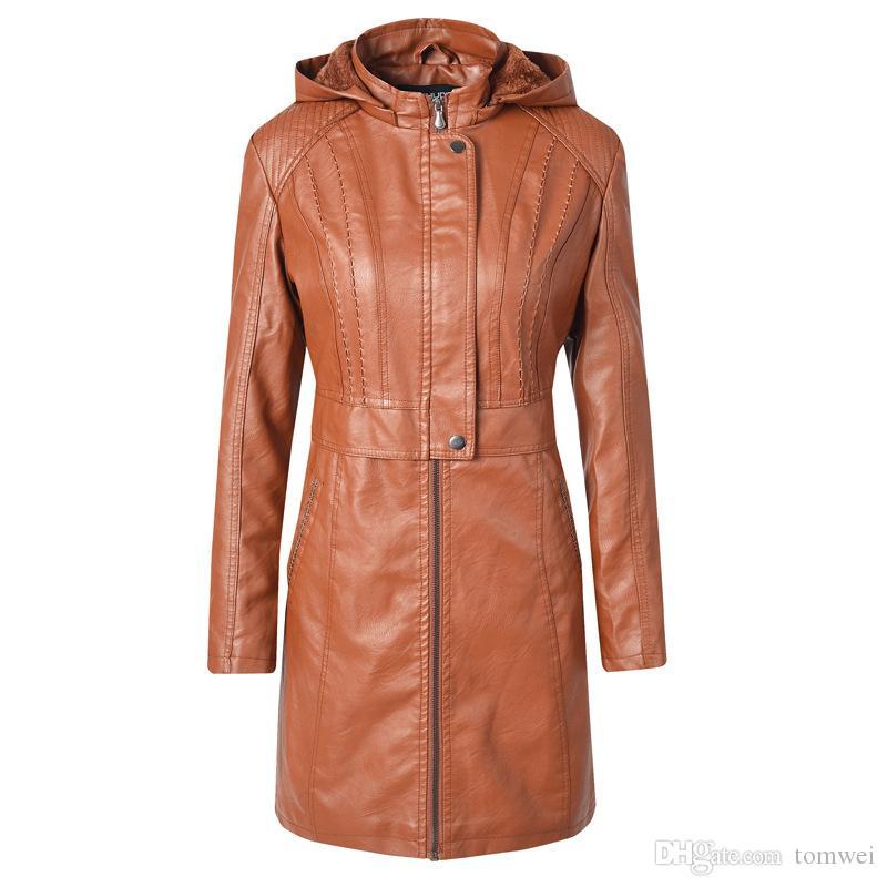 Womens Winter jacket Hooded Fur Coats Long Faux Leather Jackets Windbreaker Thicken Warm Outerwear Ladies Autumn Clothing S M L XL