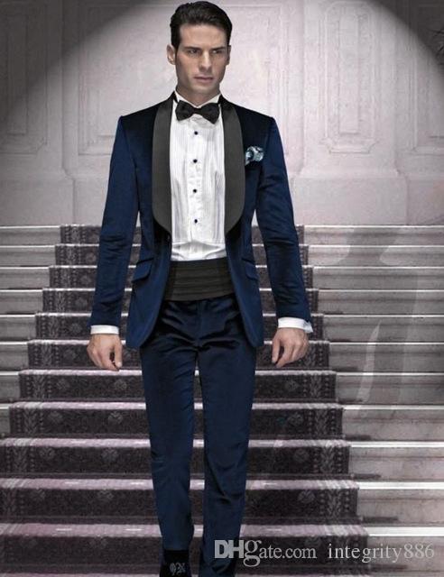 Forma de vestir boda Azul marino terciopelo novio esmoquin Negro mantón de la solapa de los padrinos de otoño invierno formal hombres juego del partido de fin de curso (Jacket + Pants + Tie) 780