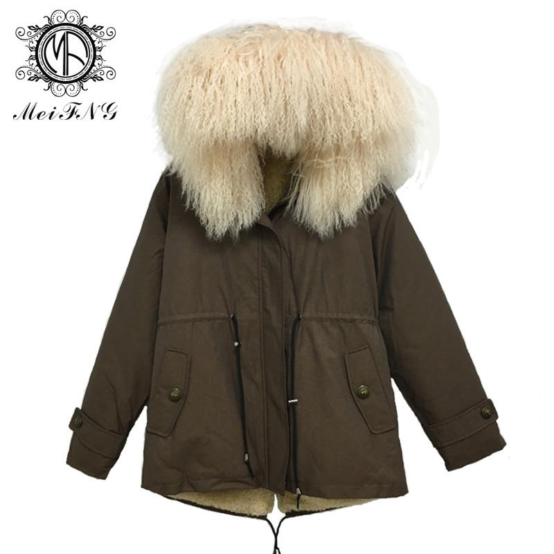 Men's Brown Short Jacket Top Quality Real Lamb Fur Collar Can Be Removable High-tech Anti-Lamb Liner Coat Plus Size Parka