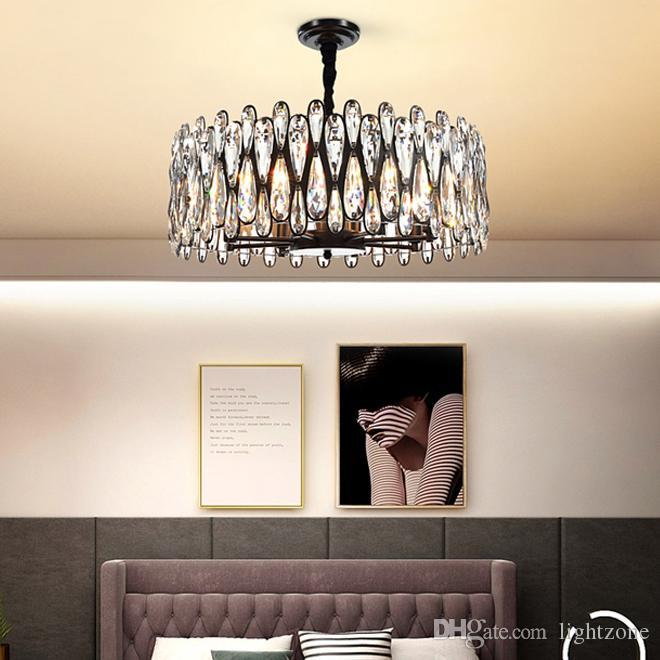 تصميم جديد عصري الثريات الكريستالية السوداء الفاخرة الإضاءة قاد مصباح قلادة أمريكي دائري لغرفة المعيشة غرفة دراسة غرفة الطعام
