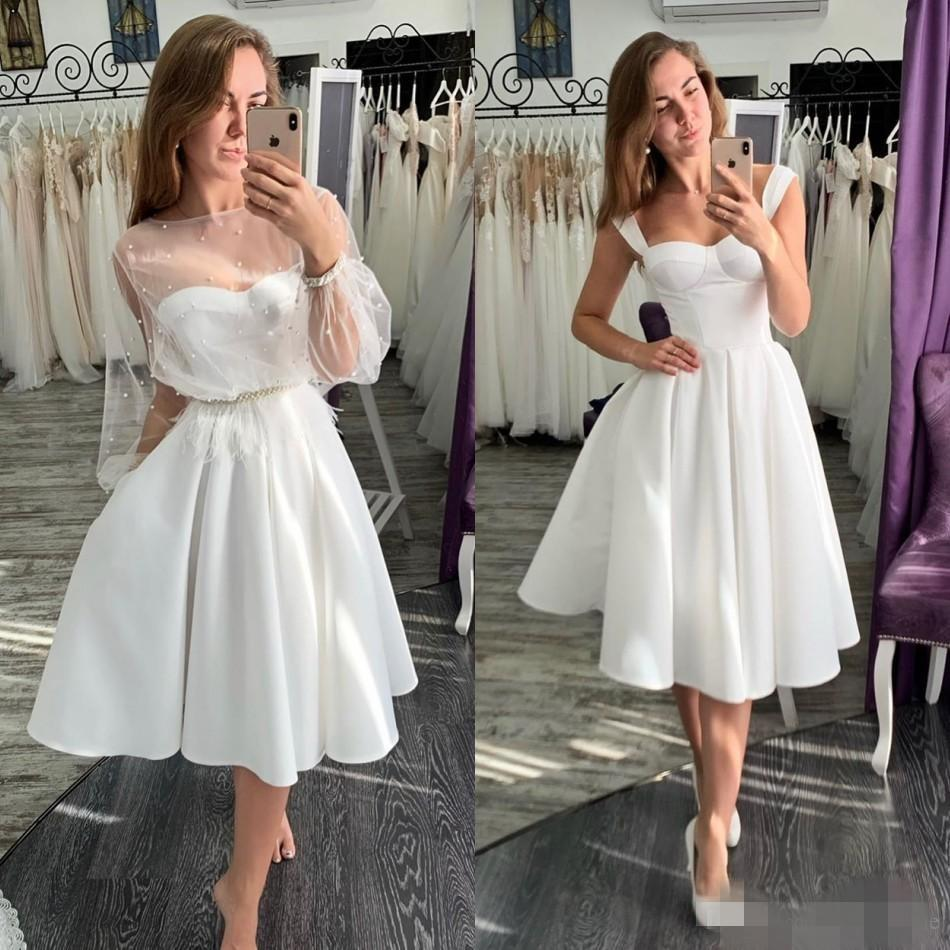 Discount18 Simple Vintage Wedding Dresses Short Satin Straps ...