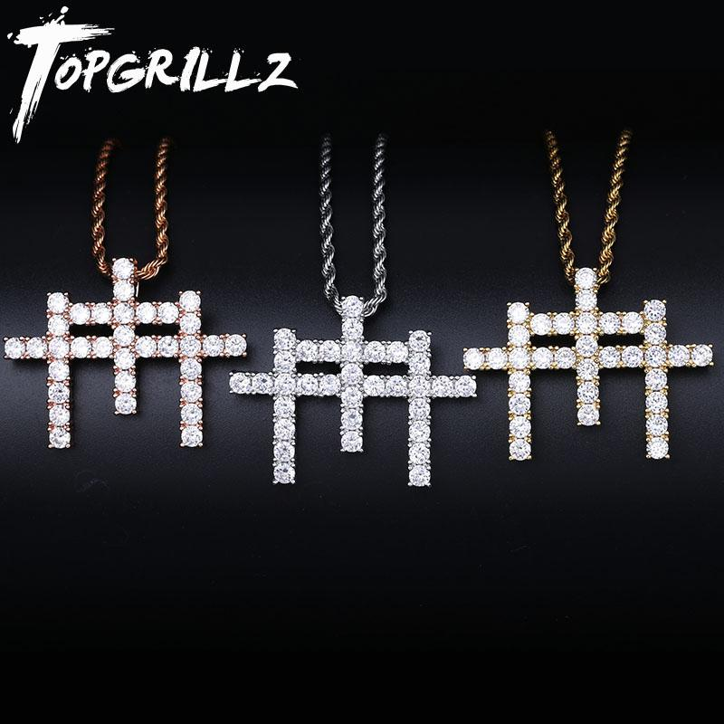 TOPGRILLZ AAA Cubic Zircon Shining Solid Back Gunna Cross Pendant Necklace With Tennis Chain Hip Hop Jewelry For Man Gift