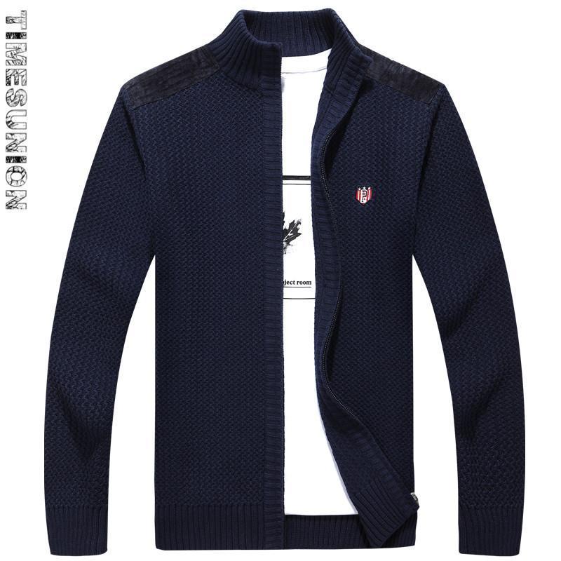 Ropa de Hombre Otoño Invierno 2018 Marca punto de los hombres 100% de algodón puro color de la cremallera chaqueta de punto de los hombres de cuello alto