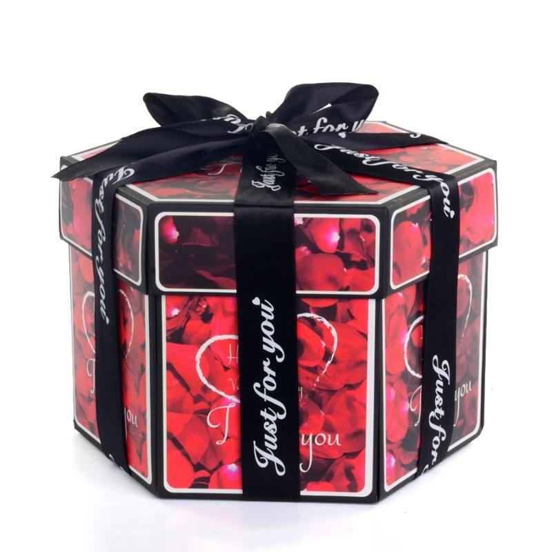 Gift Box Hexagon Sorpresa esplosione scatola di carta fai da te a mano Scrapbook Foto di nozze per San Valentino Confezioni Regalo di Natale