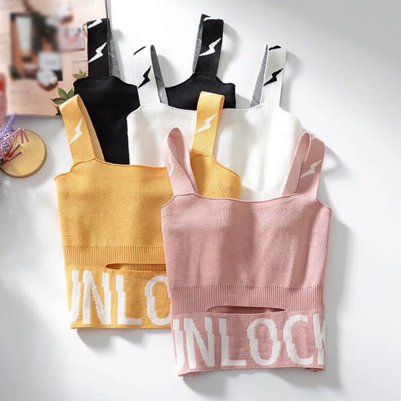 Femmes Courtes Camisole Sexy Tempéramment Tricrinet Lettre Print Trou Courte Vest Nouvelle Mode Casual Slim Tapot Tbxmt
