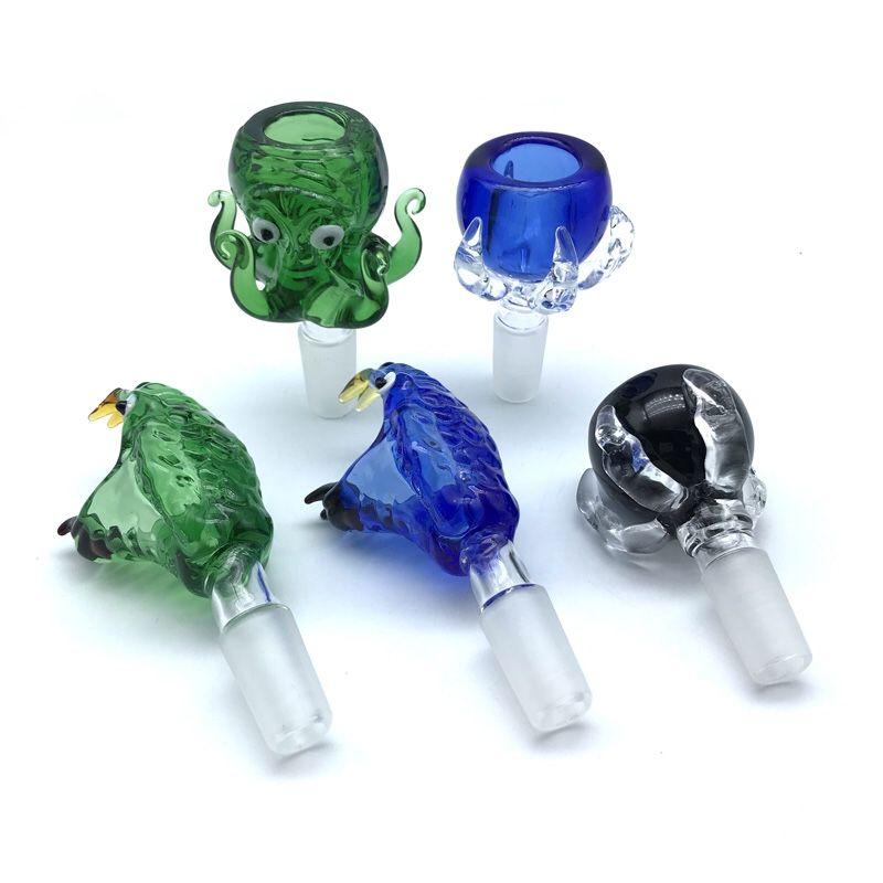 Su Boruları Petrol Kuyuları Cam bonglar İçin Yeni 14mm 18mm Mavi Yeşil Erkek Cam Kaseler ile Yılan Başkanı Ejder clawoctopus Cam Kaseler