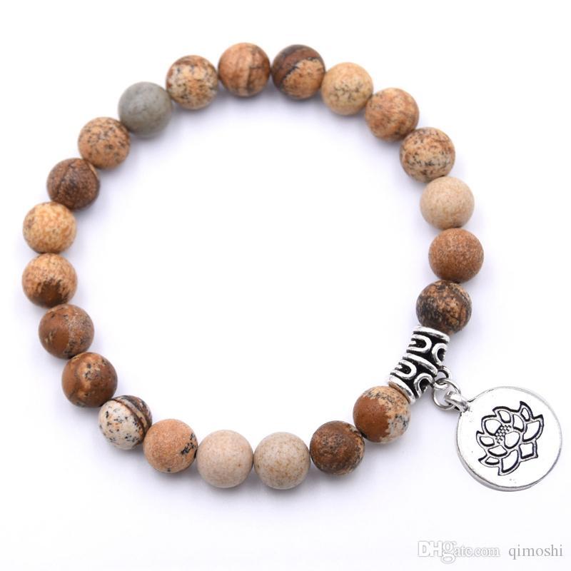 Naturstein Lotus Anhänger Männer und Frauen elastisches Armband ätherisches Öl Diffusion Yoga Heilung Armband