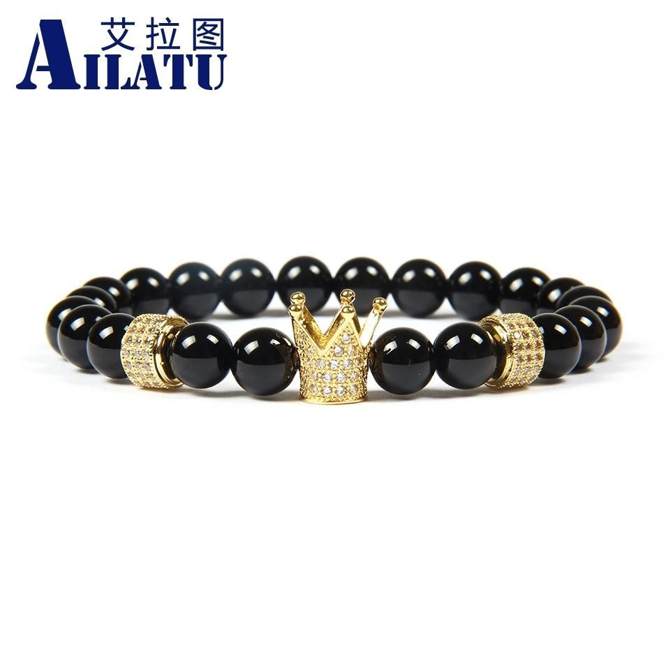 Ailatu мужские ювелирные изделия оптом 8 мм A Класс черный оникс камень бусины с белым Cz цилиндры Императорская Корона пробки браслеты