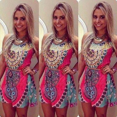 Las mujeres atractivas del verano impresión sin mangas del partido Mini vestido corto