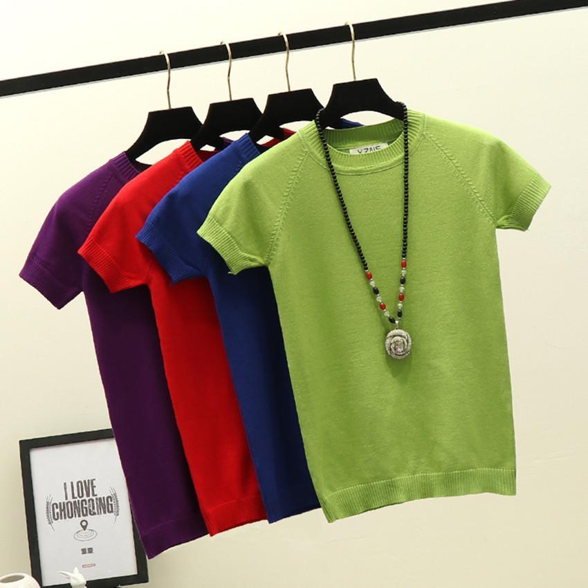 5 Renk İnce Örme Beyaz Tişörtlü Kadın Kısa Kollu Tişört Kadınlar 2020 Yaz Katı Günlük Tişört Kadın Tee Gömlek Femme T200518