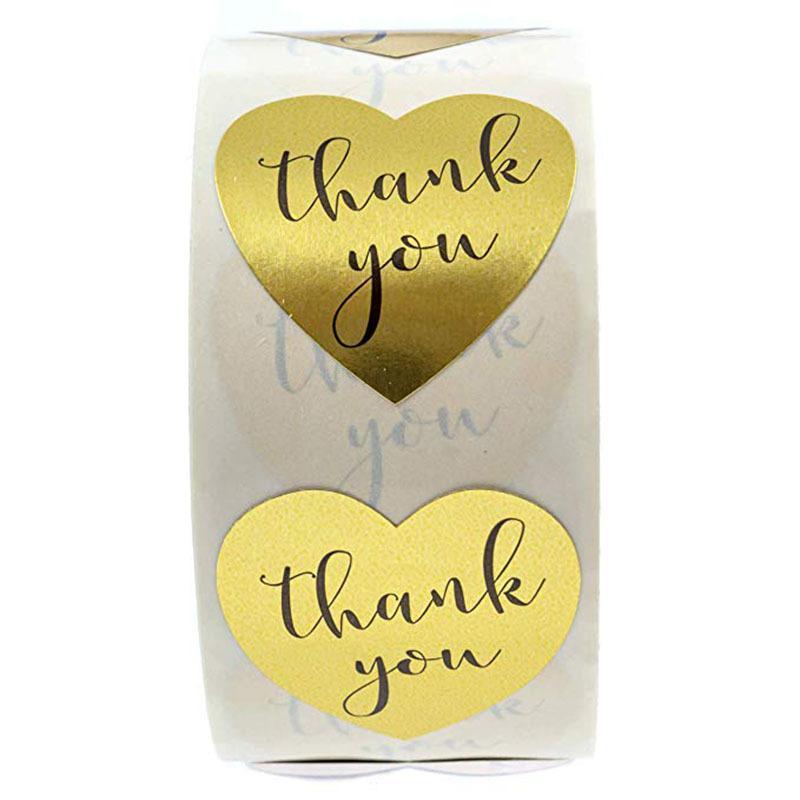 500pcs 1 pouce forme de coeur remerciement votre étiquette adhésive dans l'enveloppe d'or étanche étiquette étiquette étiquette bricolage handmade étiquette