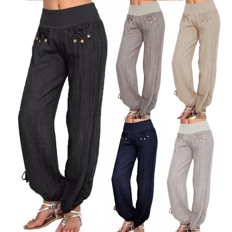 Más mujeres del tamaño suelta Harem pantalones casuales pantalones color sólido ocasional de los pantalones de cintura alta para las mujeres pantalon femme