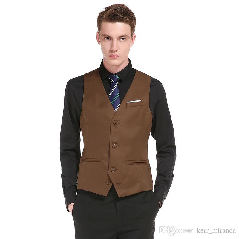 2020 웨딩 드레스 고품질의 상품 면화 남성 패션 디자인 정장 조끼 / 회색 검은 고급 남자의 비즈니스 캐주얼 정장 조끼 신랑을위한