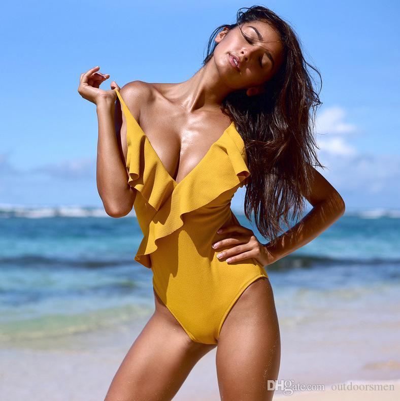 Maillot de bain une-pièce uni Falbala à col en V solide et jaune solide à volants Sexy Monokini 2019 pour femmes, maillot de bain pour la plage