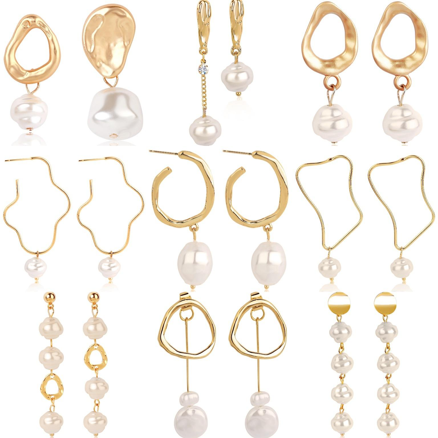 2020 new fashion Earring imitated natural pearl earrings female earrings long baroque zircon pearl earrings top sell lady jewerly highqualit