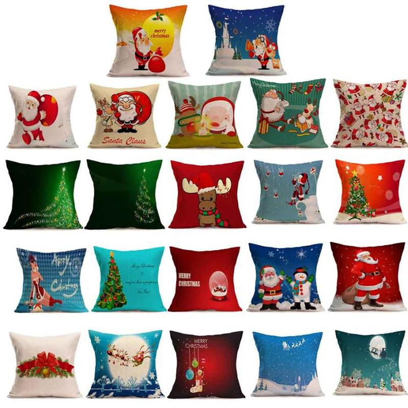 Eco Almofada amigável Covers Natal do pinguim Smowman dos desenhos animados Caso Pillow vintage para a decoração Home Fundas De Cojines