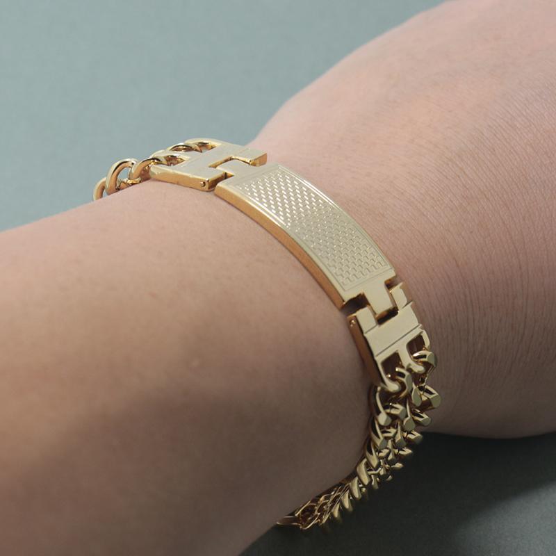 Linhas 18 milímetros de largura dupla pulseira personalizada da cor do ouro Homens Moda Jóias