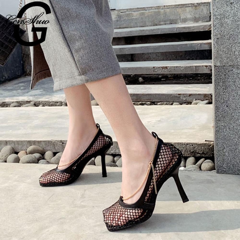 GENSHUO modo delle donne Pompe sexy della maglia sandali delle pompe della punta quadrata tacco alto catena vuota pattini di vestito partito Zapatillas