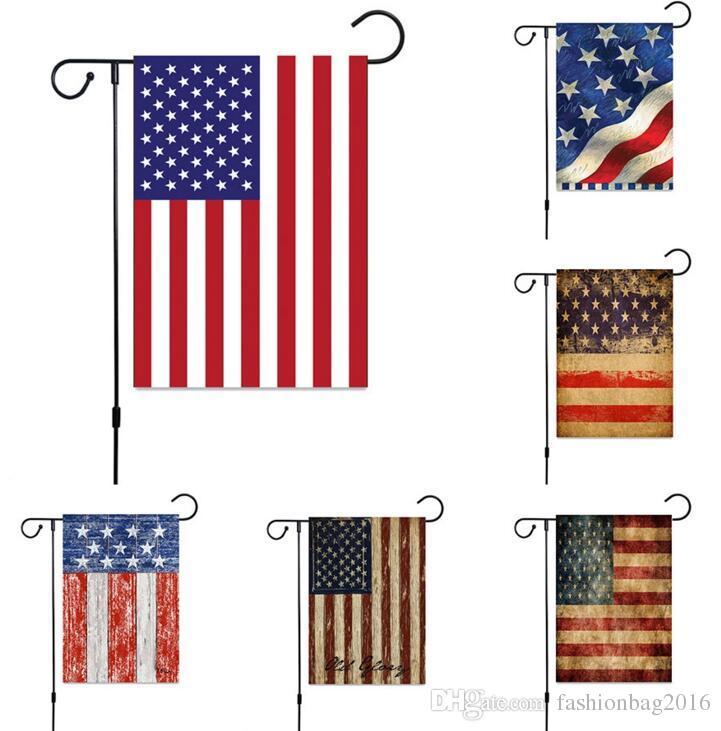 Mix Renk Bağımsızlık Günü Bahçe Bayrak Keten ABD Baskı Bayrakları Asılı Bayrakları Kapalı Açık Ev Dekorasyon