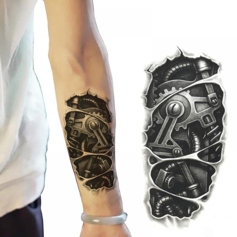3 temporaires nouveaux styles 3D Robot imperméable noir bras mécanique faux transfert de autocollants de tatouage hommes cool sexy chaud pulvérisent
