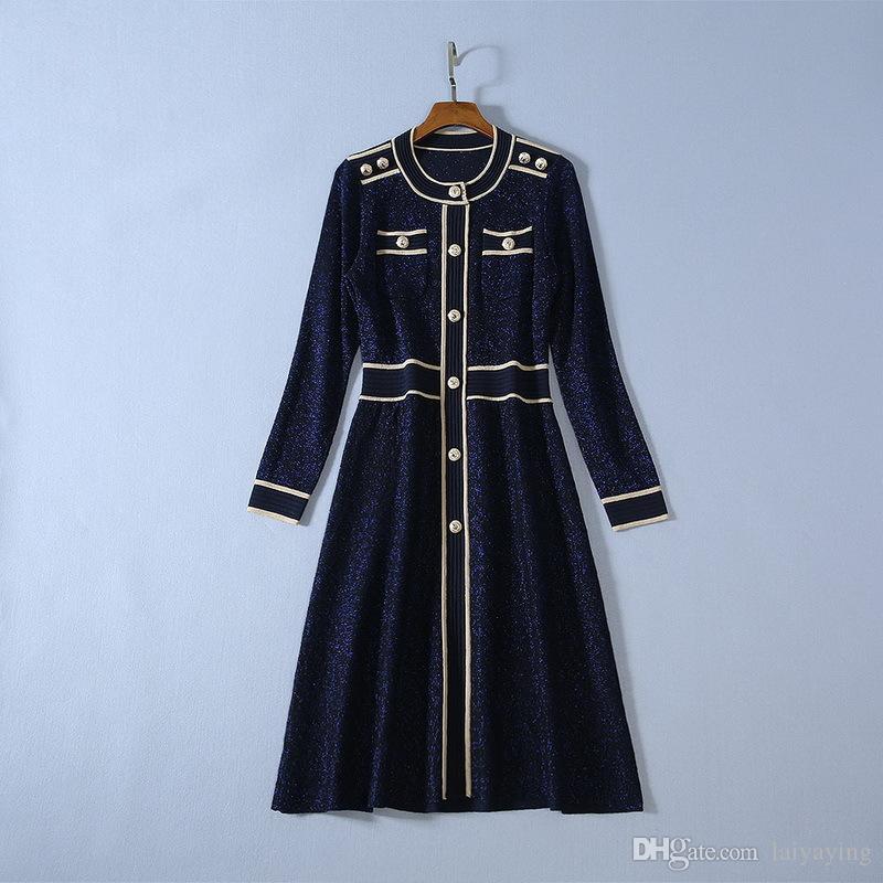 vêtements pour femmes européennes et américaines 2019 hiver nouveau style de mode de tricot de soie brillante robe bouton à manches longues