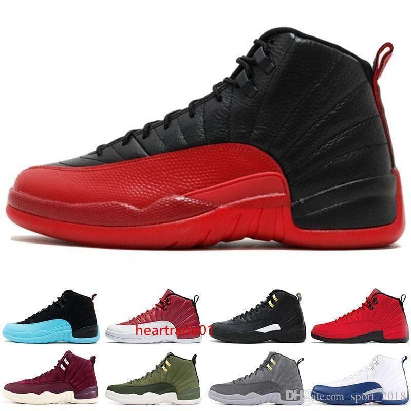 moda 12 novos Gym Red 12s faculdade sapatos homens de basquete Michigan ASAS touros Flu Jogo do mestre de táxi preto branco Sports sapatilha