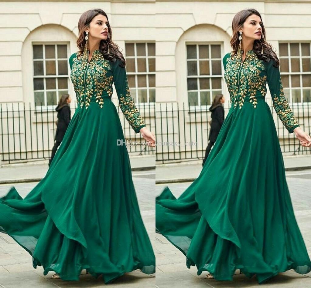 Großhandel Dunkelgrüne Muslimische Abendkleider Stehkragenstickerei Chiffon  Bodenlangen Langen Ärmeln Indische Saudi Arabische Dubai Abendkleider