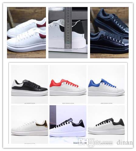 New Fashion Designer Schuhe Luxus Frauen Leder macqueens Schuhe Schnüren Plattform Übergroße Sohle Turnschuhe Weiß Freizeitschuhe Amcqueens E35-40