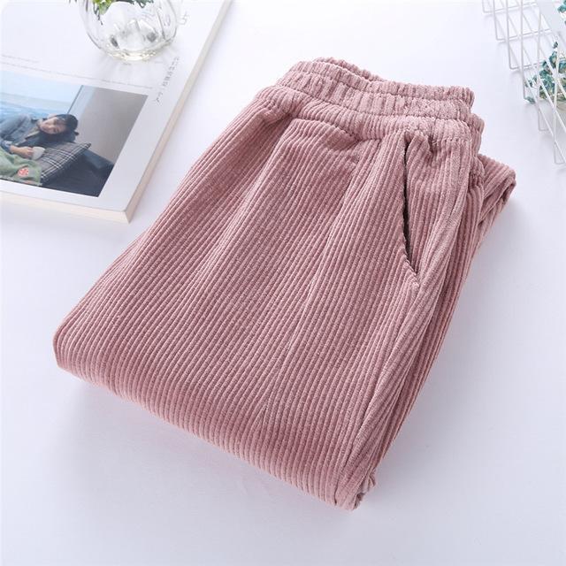 Autumn Corduroy Calças Pantalon Mujer cintura elástica Harem Pants Plus Size 3XL Casual Sweatpants calças largas D05