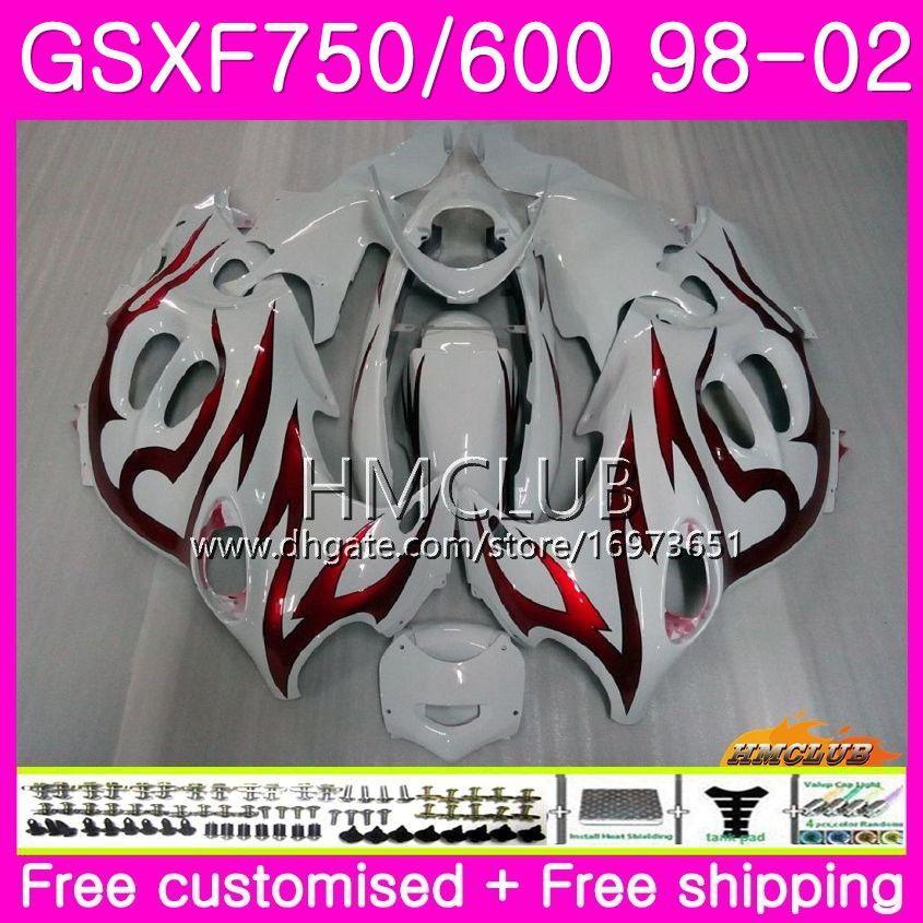 Kit Pour SUZUKI KATANA GSX750F GSXF750 1998 1999 2000 2001 Flammes rouges 2002 Corps 3HM.14 GSXF 750 600 GSX600F GSXF600 98 99 00 01 02 Carénage
