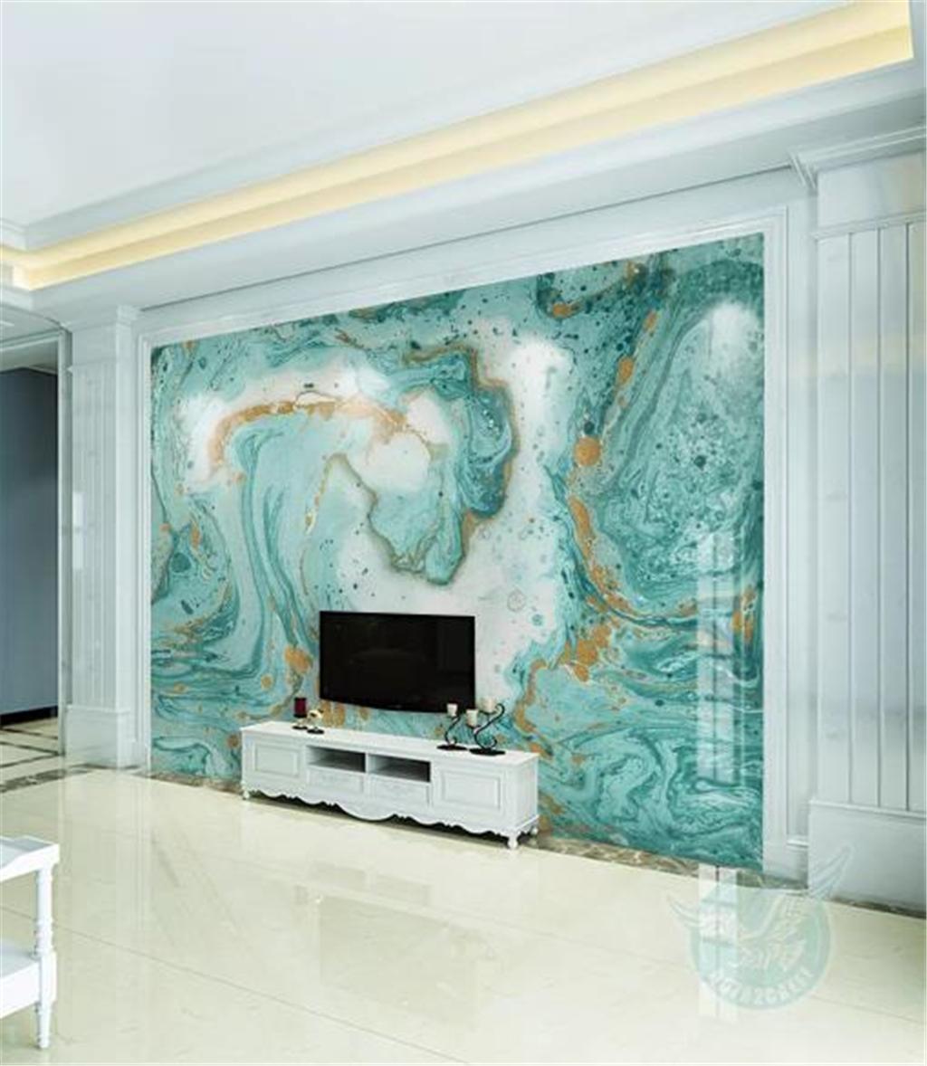 Custom 3d Wallpaper European Abstract Blue Marble Living Room
