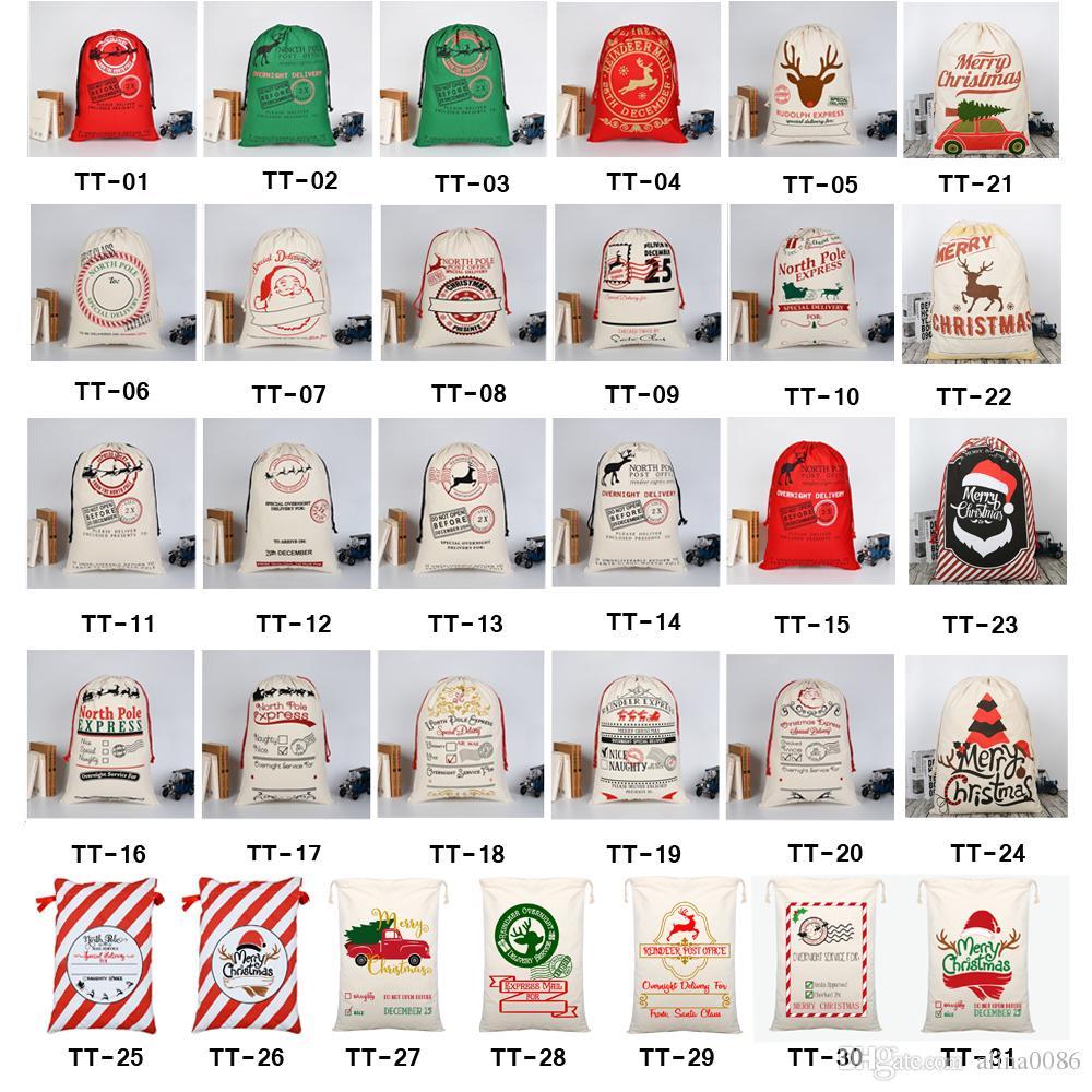 2020 Sacos de Presente de Natal Saco de Lona Grande Saco de Lona Saco de Cordão Com Sacola de Renas Orgânica Grande Papai Noel Sacos De Papai Noel para crianças