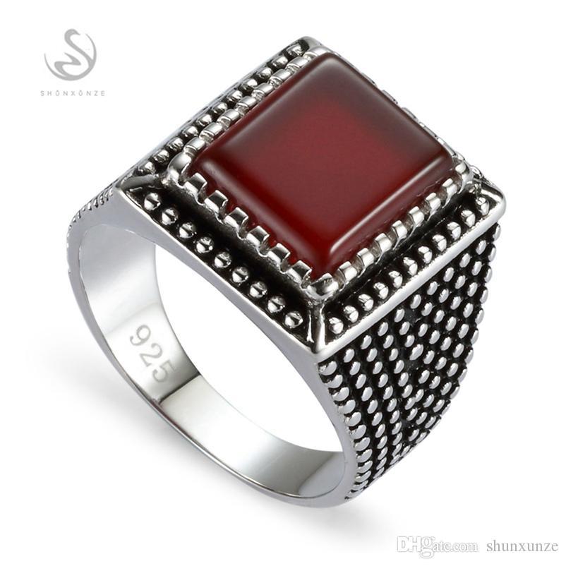 Shunxunze Vintage Charms Bruiloft 925 Sterling Zilveren Sieraden Ringen voor Mannen Accessoires Dropshipping Red Agate S-3806 Maat 7 8 9 10 11 12 13