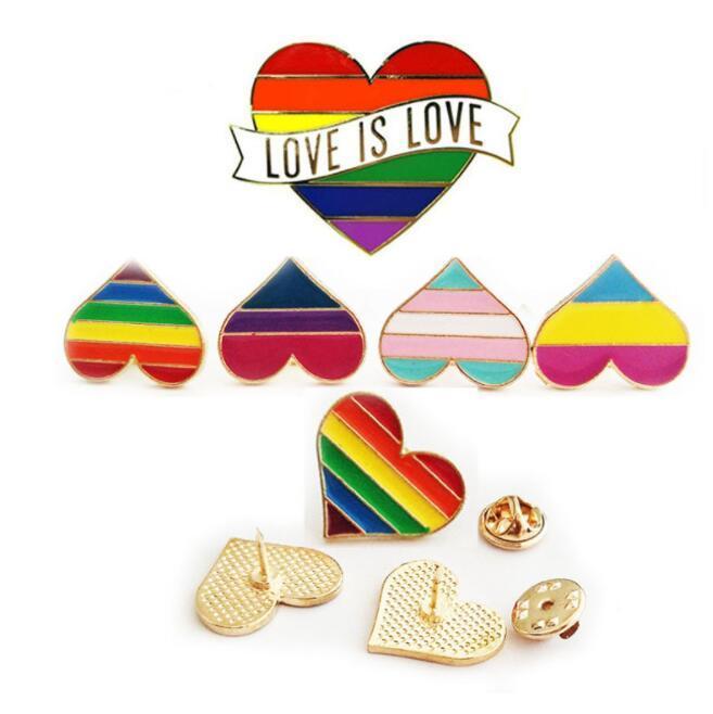 Arco iris Color Esmalte LGBT Broches para Mujeres Hombres Hombres Gay Lesbian Pride Pins Pins Batge Joyería de moda en a granel A0115