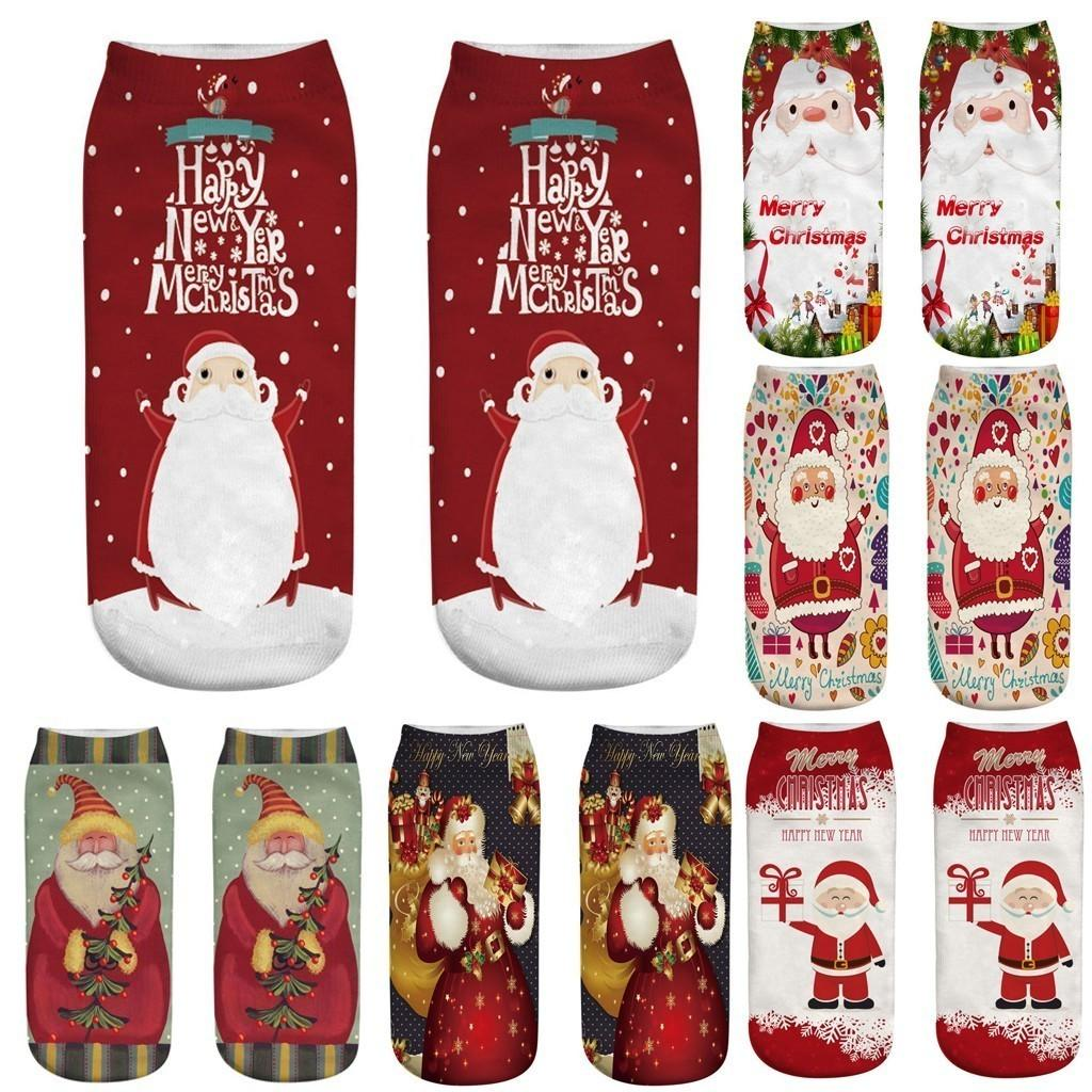 3D Christmas Santa Elk Printing Medium Sports Socks winter socks Cotton Cartoon Cute Funny kawaii Socks for Girl Christmas Gift