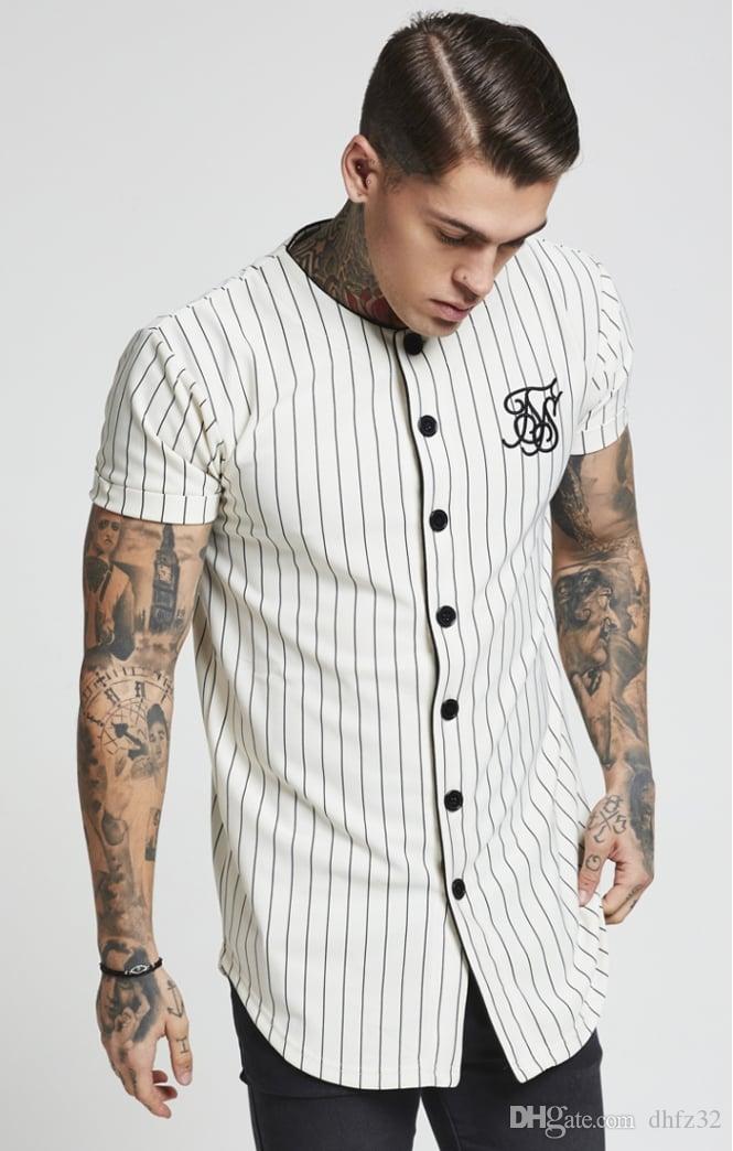 La manera del verano de los hombres Streetwear Hip Hop camisetas Camisa Sik seda bordada del jersey de béisbol rayada Hombres Ropa