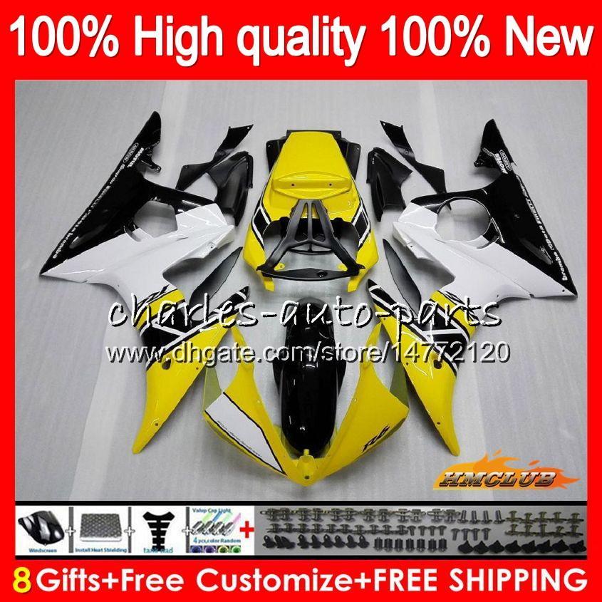 Bodys für YAMAHA YZF R6 S YZF600 YZFR6S YZFR6S 06-09 60HC.17 YZF600 YZF R6S 06 07 08 09 2006 2007 2008 2009 Verkleidungs + 8Gifts gelb schwarz