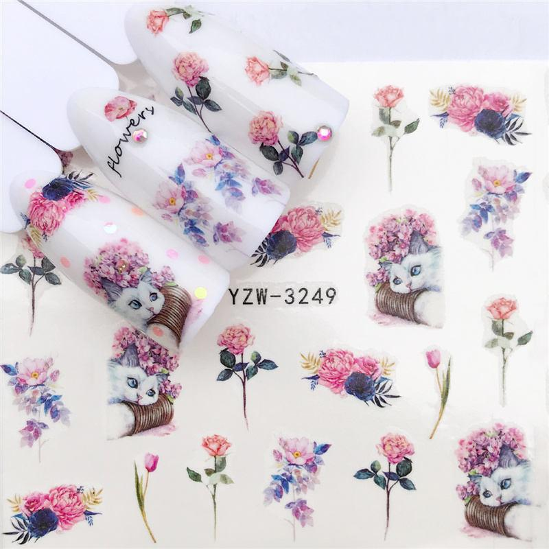 1 Pc Panda / Black Rose / Flower Water Transfer Art Sticker Beauty Red Maple Leaf Decal Nail Decorations