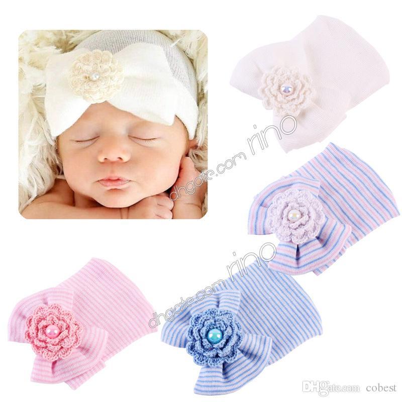 baby girls hair bows hats newborn crochet beanie hat toddle boy bonnet kid knit hair accessories infant baby winter cotton photography caps