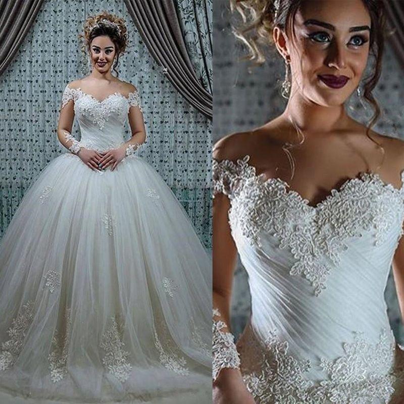 Старинные кружева аппликации тюль бальное платье Свадебные платья милая иллюзия длинными рукавами с плеча длина пола свадебные платья