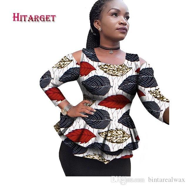 Yeni dashiki Afrika Kadınlar Giyim Bazin Riche Moda Zarif O-Boyun Crop Top Gömlek Ankara Afrikalı Giyim WY2100
